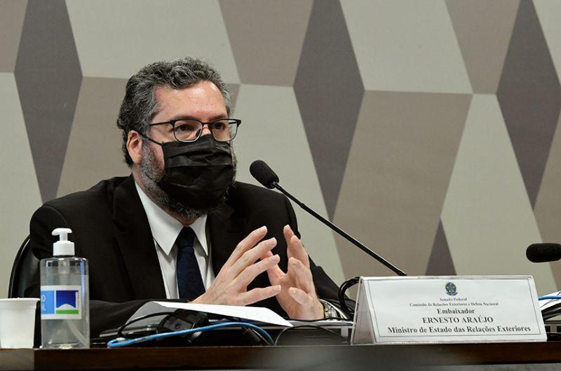 Ernesto Araújo em audiência no Senado, em setembro do ano passado - Edilson Rodrigues/Agência Senado
